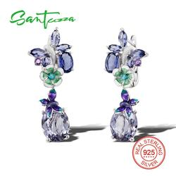 SANTUZZA Silver Earrings For Women 925 Sterling Silver Dangle Earrings Silver 925 with Stones Cubic Zirconia brincos Jewelry