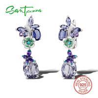 Silver Drop Earrings For Women Purple Glass Amethyst Cubic Zirconia Stone Pure 925 Sterling Silver Earring