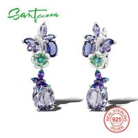 Silver Drop Earrings For Women Purple Glass Amethyst Cubic Zirconia Stone Pure 925 Sterling Silver Earring