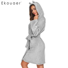 Ekouaer Soft Robe Womens Bathrobe Hooded Plush Long Sleeve Open Front Robes With Two Animal Ears Christmas Robe Sleepwear(China)