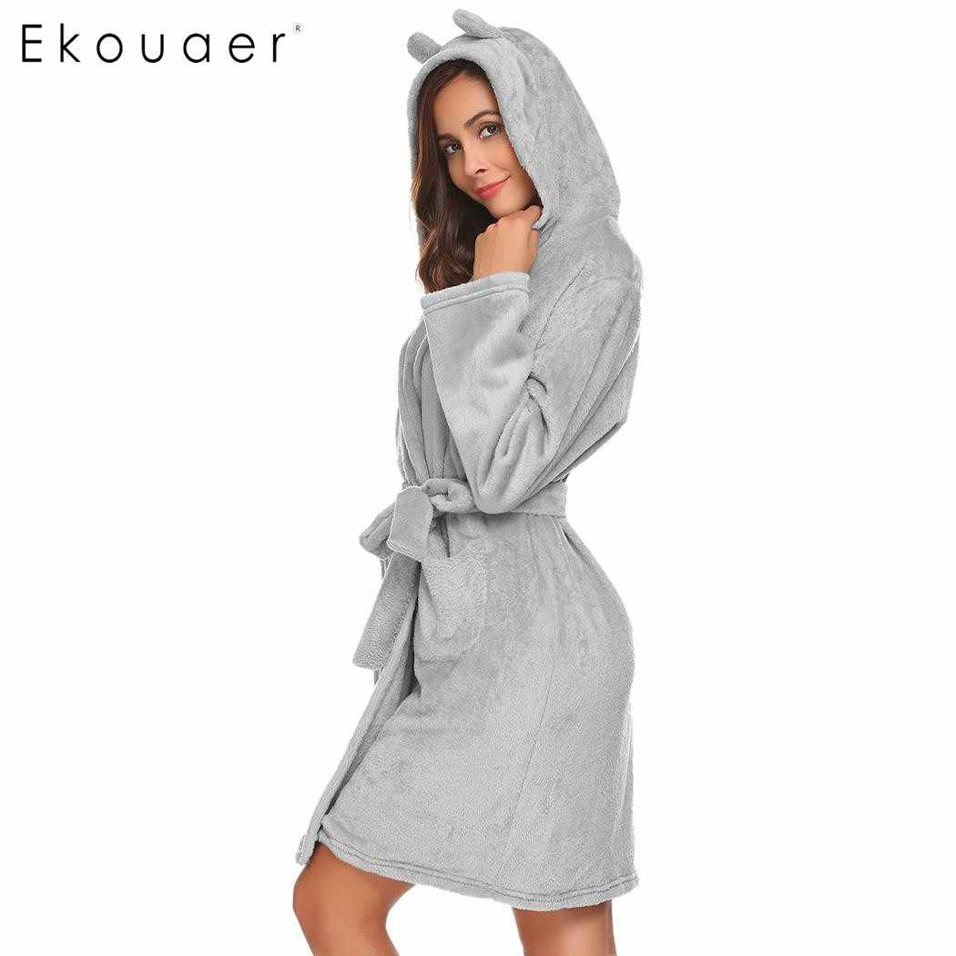 0df1bf80 Ekouaer bata suave para mujer albornoz con capucha de felpa de manga larga  abierta frontal batas