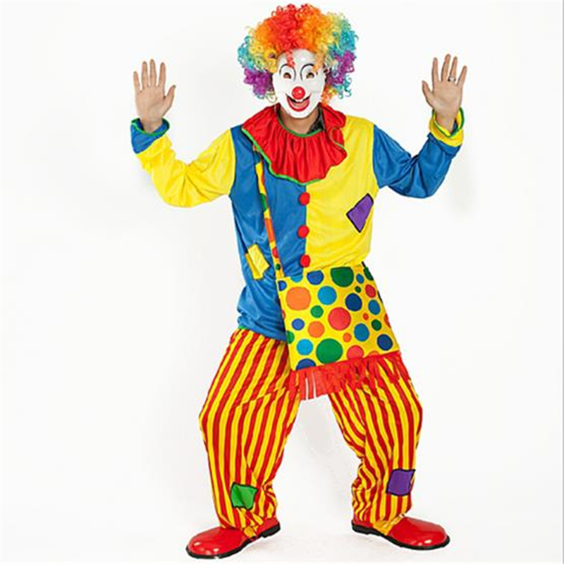 Cosplay Halloween Circus Show Clown Costume Adult Harlequin Jumpsuit Top + Pants + Backpack Men and Women Applicable