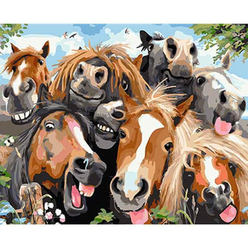 Animales encantadores enmarcado imágenes DIY pintura por números DIY pintura al óleo en lienzo decoración del hogar pared arte GX25485 40X50 CM