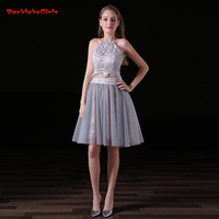 2017 Sexy Short Evening Dress Suit A Line Lace Appliques Crop Top Backless Real Photo Customized