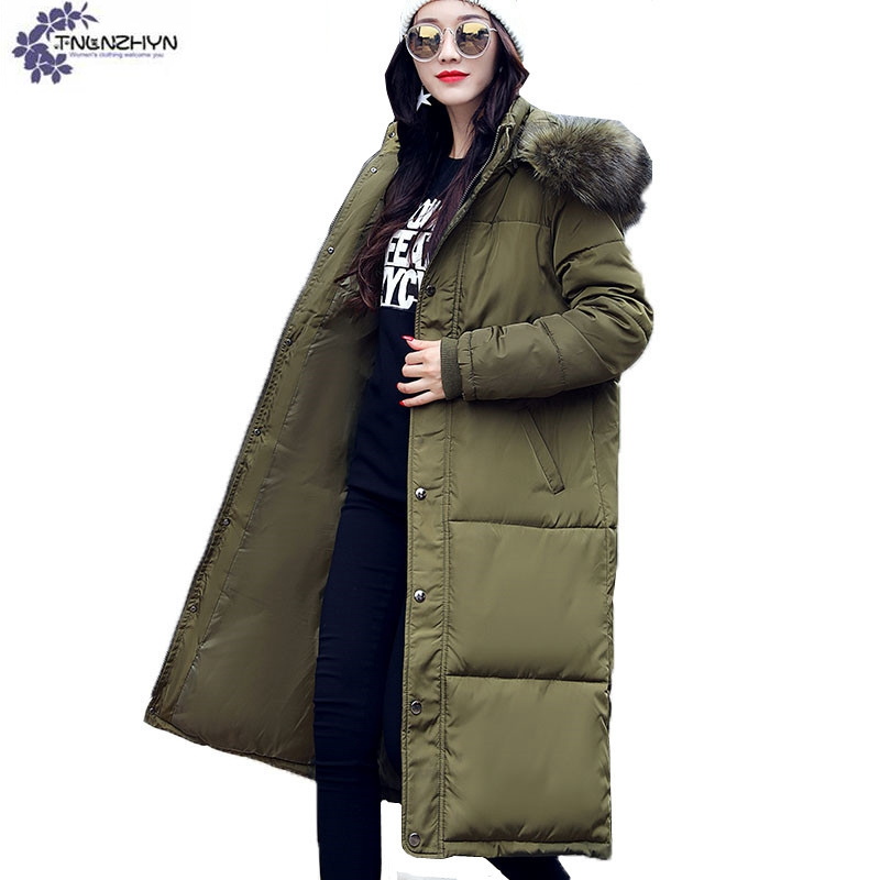 TNLNZHYN Women clothing warm Cotton coat winter new fashion Hooded Fur collar High end large size female Cotton Outerwear QQ611