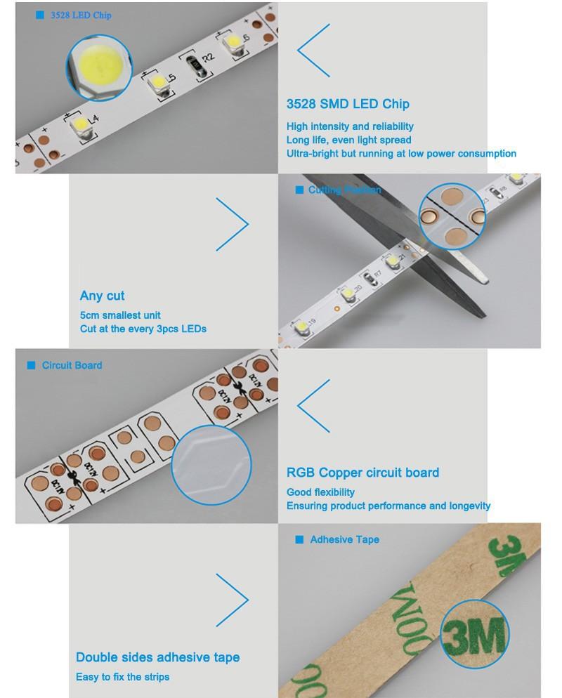 5m 300 LED 3528 SMD 12V flexible light 60 ledm LED strip whitewarm whitebluegreenredyellowRGB colors Free shipping (1)