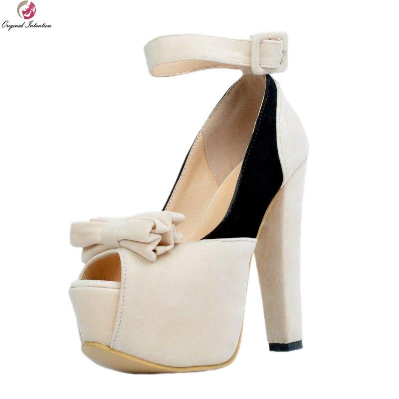 ความตั้งใจเดิมผู้หญิงรองเท้าแตะสายคล้องคอ Nice เปิดนิ้วเท้าหวานสแควร์รองเท้าส้นสูงรองเท้าผู้หญิง Plus ขนาด 4 15-ใน รองเท้าส้นสูง จาก รองเท้า บน   1