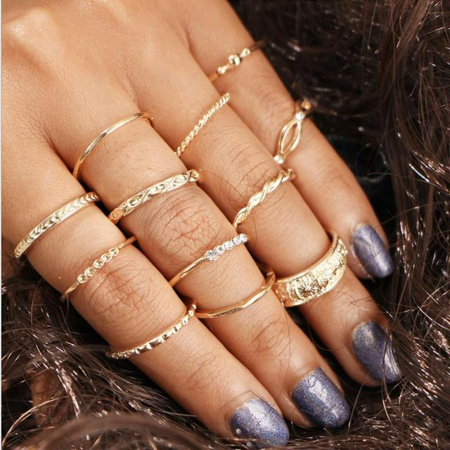 12 pc/set Charm Gold Color Midi Finger Ring Set for Women Vintage Boho Knuckle P