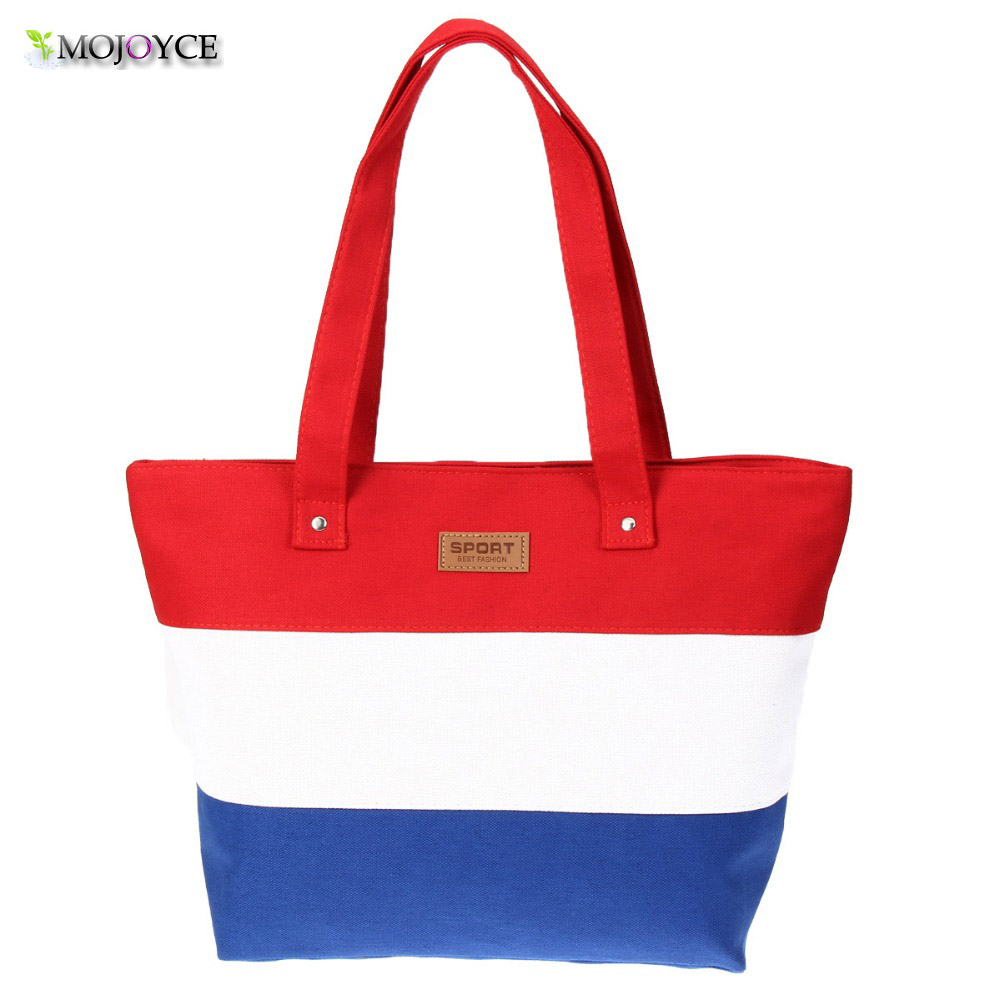 MOJOYCE Women Travel Shopping Bags Summer Beach Big Shoulder Bags Ladies Large Capacity Canvas Striped Messenger Tote Bag