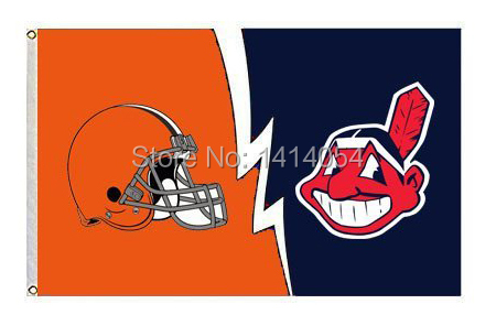 Кливленд Браунс против индейцев ФЛАГ 150x90 см MLB 3x5 футов баннер 100d полиэстер флаг люверсами 009, Бесплатная доставка