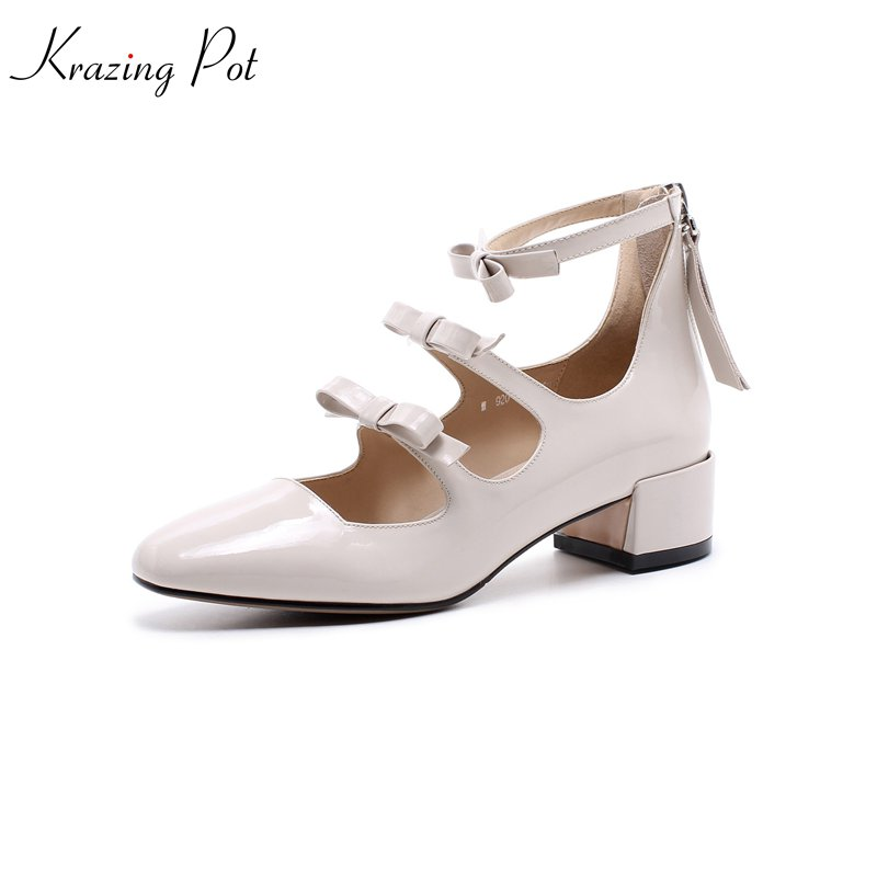 krazing Pot 2018 fashion cow patent leather Spring women pumps solid square toe slip on med heel wedding parrty style shoes L13 2018 patent leather slip on keep warm pumps for women square toe preppy style pearl wedding med heels brand winter shoes l18