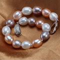 100% Real Natural Freshwater Pearl Bracelet Cultured Genuine Pearl Bracelet For Woman Gold  Jewelry Gift For Mother