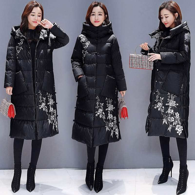 Bas Épais Mode black Femmes 2019 Manteau À Chaud Pr503 Vers Impression red Le Slim Survêtement Creamy Chinois Veste White National Capuchon Style Hiver De Parkas H9IWEYD2