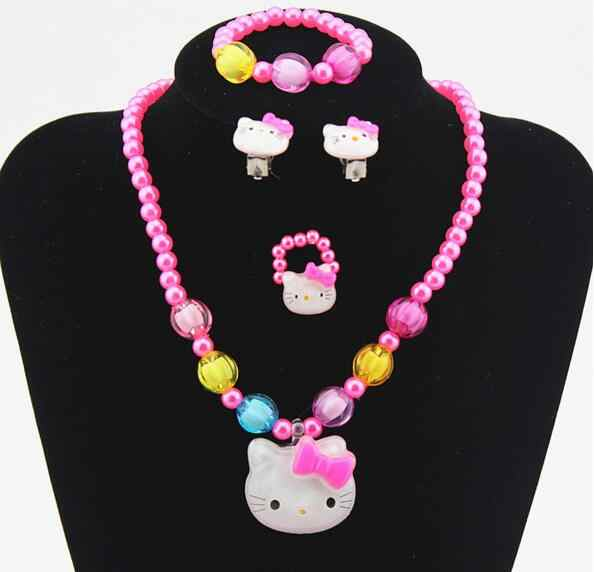 1set Lovely Baby Girls Imitation Pearls Kitty cat Pendant Necklace Bracelet Ring Set Children Kids Jewelry sets Xmas Gifts