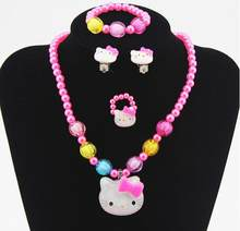 1set Lovely Baby Girls Imitation Pearls Kitty cat Pendant Necklace Bracelet Ring Set Children Kids Jewelry sets Xmas Gifts(China)