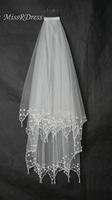 MissRDress Handmade Beads Bridal Veil With Comb Two Layers Wedding Veil Ivory Tulle Lace Veils For Wedding Accessories JKm38