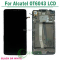 White,Black For Alcatel One Touch Idol X+ 6043 OT6043 lcd display with touch screen digitizer frame assembly Free Shipping