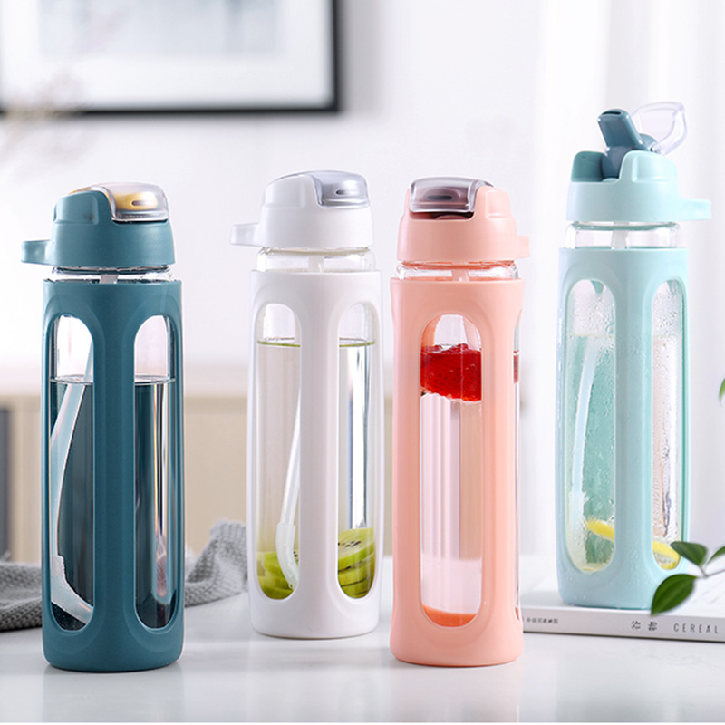 600ML 540ML Glass Water Bottle Straw With Plastic Protective Case Portable Leakproof My Water Bottles For Sports Hiking-in Water Bottles from Home & Garden on AliExpress
