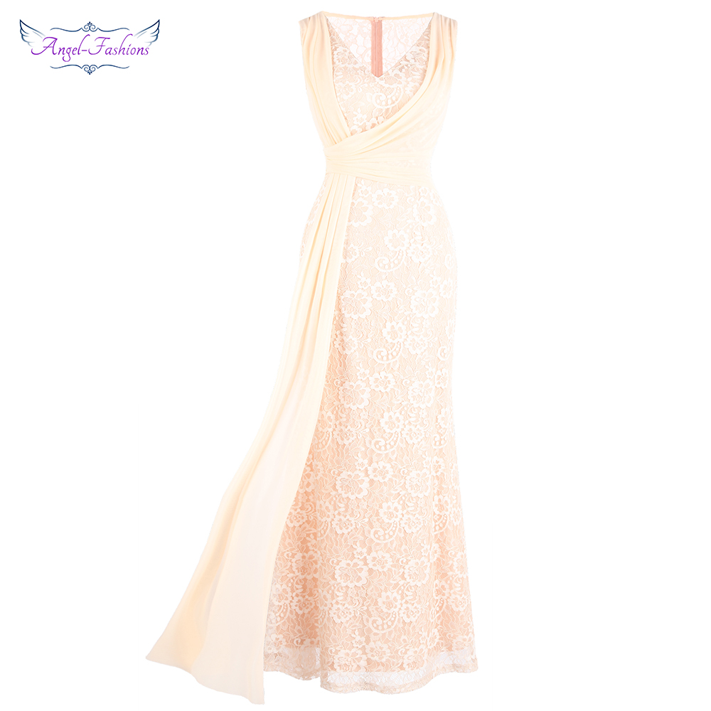 Angel-fashions Women's V Neck Lace   Dresses   Pleated Ribbon See Through Wedding   Bridesmaid     Dresses   Light Orange J-190107-S Red 232