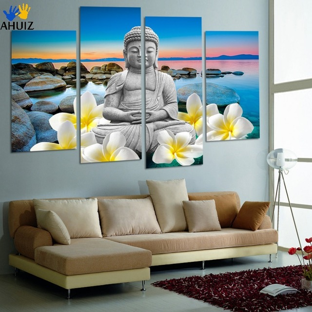 Free Shipping Large Size Buddha Canvas Painting For Interior Room  Decoration (unframed) FX012