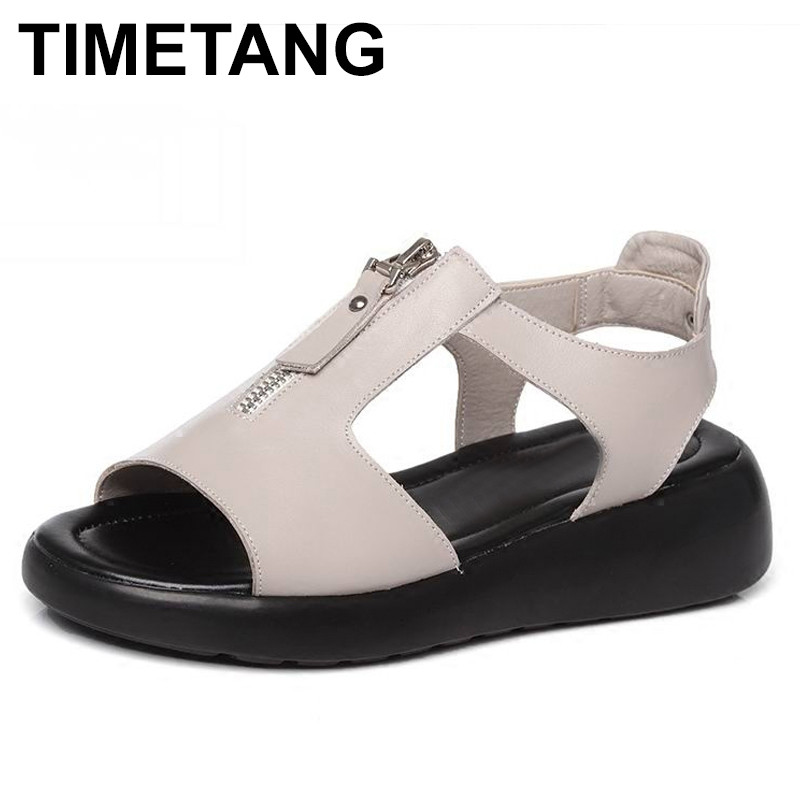 TIMETANG Women Sandals Genuine Leather Platform Summer Shoes Open Toe Sandals Platform Wedges Women's Shoes Plus Size 34-43 gktinoo summer shoes woman genuine leather sandals open toe women shoes slip on wedges platform sandals women plus size 34 43