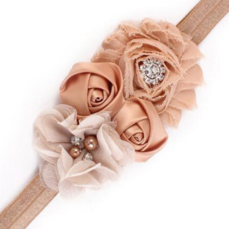 Newborn Headband Kids Shabby Flower Rose Flowers Pearl Rhinestone Hairband Headband   Headwear   Hair Bands Accessories 1 PC