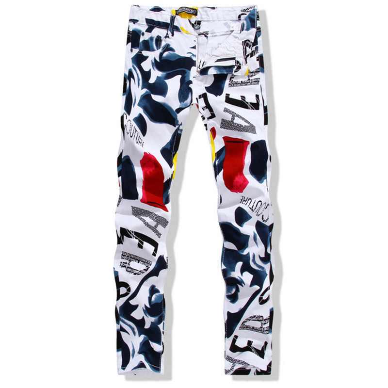 New brand fashion stretch mens jeans white printing jeans men casual slim fit hip hop elastic color printing red letters jeans red white mens stretch jeans slim fit ink printed street fashion skinny jeans men hip hop casual jogger pants male trouser brand