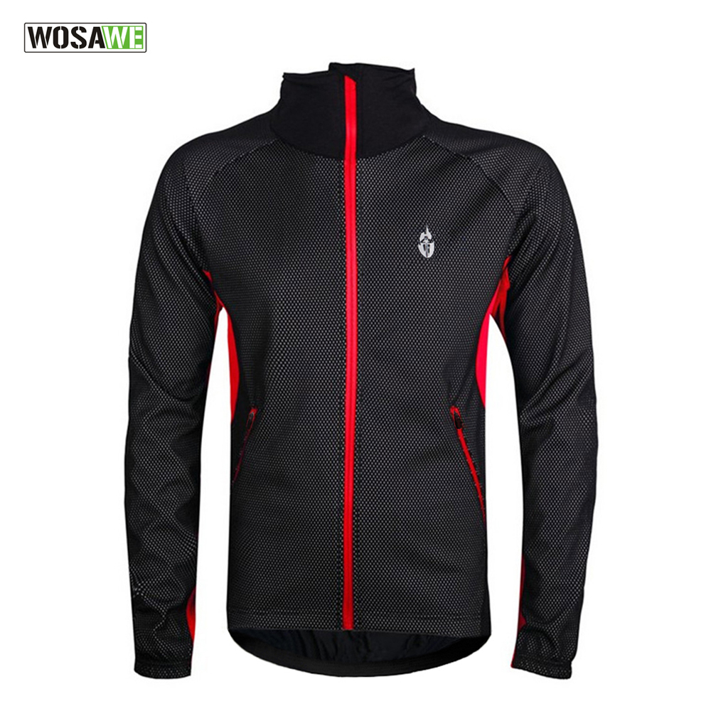 WOSAWE Fleece Thermal Winter Cycling Jacket Windproof Bike Bicycle Coat Clothing Long Warm up Jersey Waterproof Black with red  wosawe outdoor sports windproof winter long sleeve cycling jacket unisex fleece thermal mtb riding bike jersey men s coat