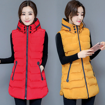 Brieuces Autumn Winter Vest Women Waistcoat Female Sleeveless Jacket Hood Warm Long Colete Feminino Plus Size 4XL