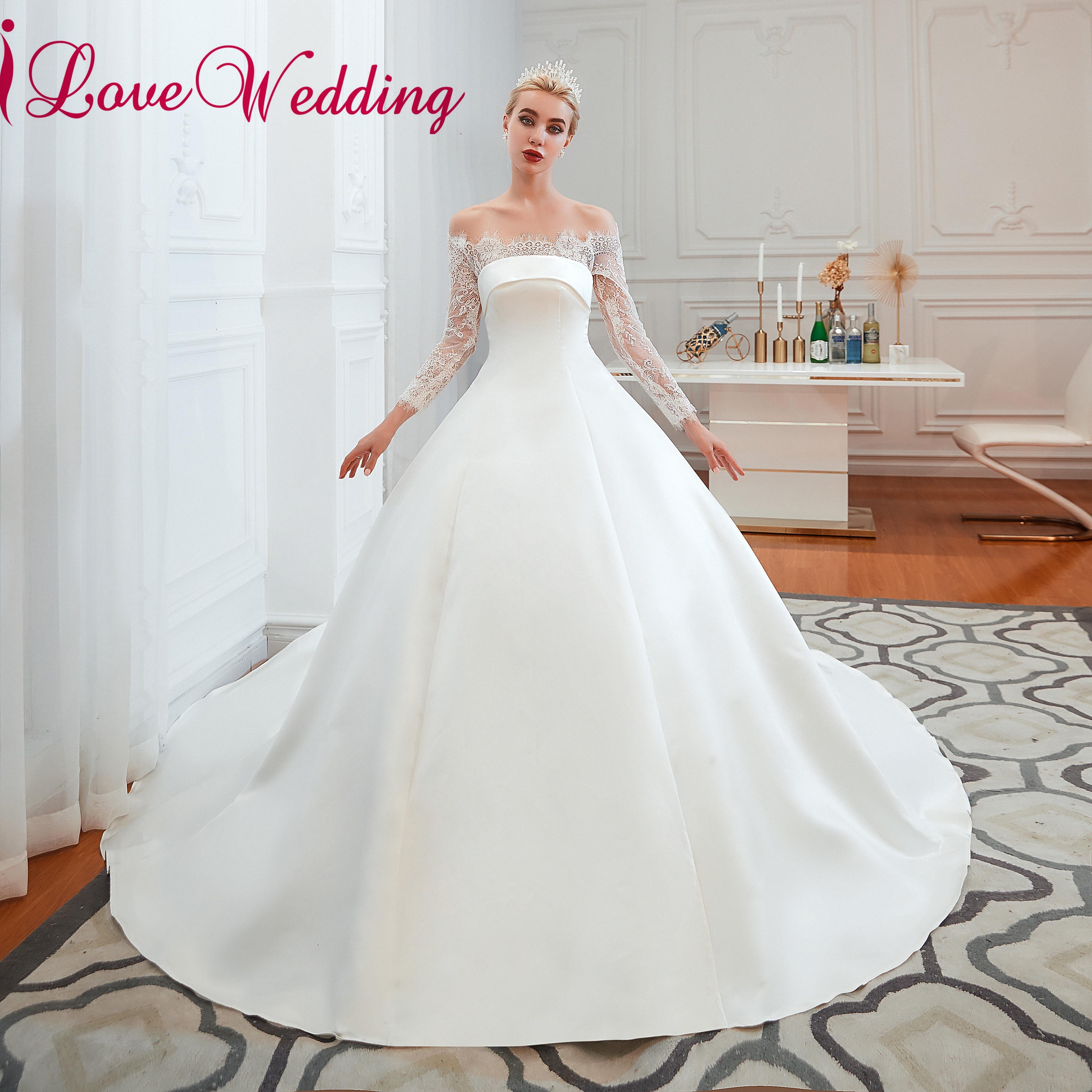 Nouvelle mode 2019 col bateau dentelle manches longues robe de mariée sur mesure Satin une ligne chapelle Train conception Simple robe de mariée