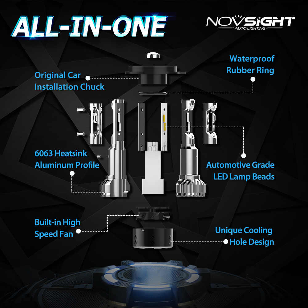 Novsight 12V H1 Led H7 led H4 H11 H8 Car Headlight Bulbs 10000LM Auto 9005 HB3 9006 HB4 Automobiles Headlamp Fog Light Bulb