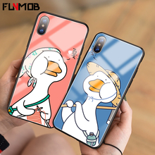 Luxury Tempered Glass Phone Case For iPhone 6 6s 7 8 Plus Cute Couple Duck Silicone Case For iPhone X XR XS Max Back Cover Coque