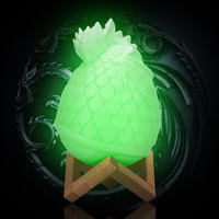 20cm 16 Colors Dragon Egg 3D Printed LED Light Remote Control Dimmable Night Lamp with Stand for Home Decor Accessories