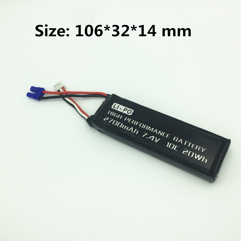 7.4V 2700mAh 10C Lipo Battery for Hubsan H501S X4 / H501C X4 RC Quadcopter  RC Drone Spare Parts Li-po Battery Accessory аккумулятор lipo 7 4v 2s 50с 2700 mah ori60165