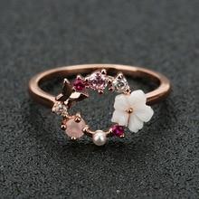 Модные креативные бабочки цветы кристалл свадебные кольца на палец для женщин розовое золото циркон Гламурное кольцо ювелирные изделия подарок для девушки Bijoux