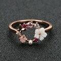 Модное креативное женское кольцо с бабочкой и цветами со стразами