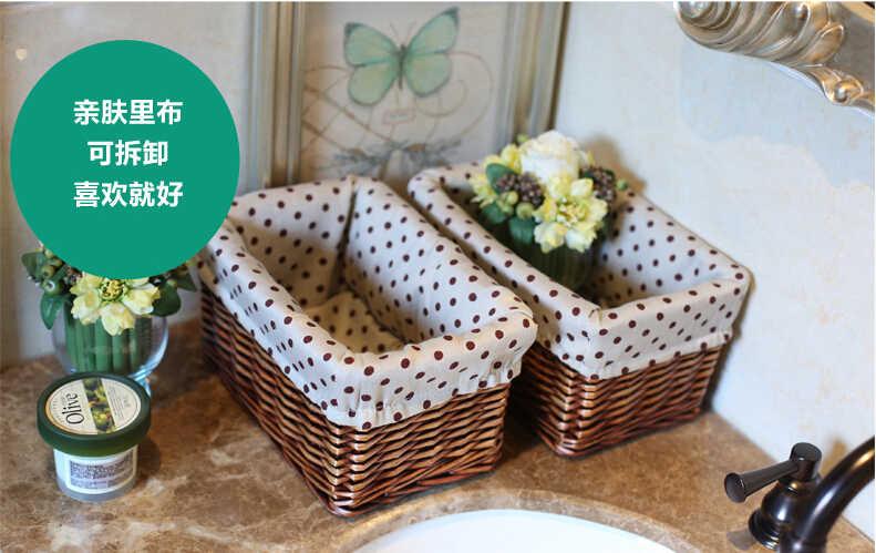 Casa de vime cesta de armazenamento de desktop cosméticos caixa de armazenamento de tecido cesta de armazenamento cesta de roupa suja cesta de armazenamento