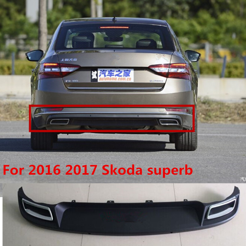 High quality ABS Car Rear Bumper Lip, Auto Car Rear Diffuser Fits For 2016 2017 Skoda superb
