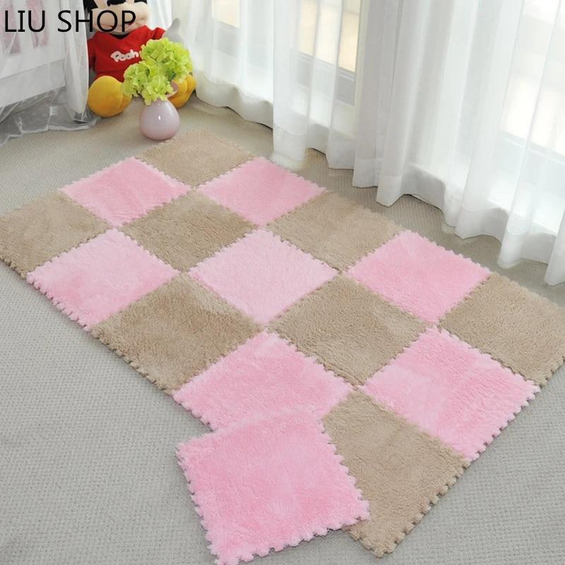 liu tapis puzzle en velours en daim doux pour chambre a coucher canape salon en mousse epais pour bebe 30x30cm couleurs variees