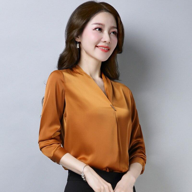 Spring Fall Fashion Women Office Lady Orange Black Green Long Sleeve 4xl Blouse , Formal Woman V Neck Wine Red Elegant Blouses 4