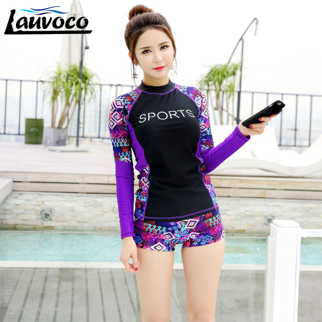2018 Long Sleeve Rashguard Women Surfing Clothing Rash Guard Swimwear Two  Pieces Sports Pants Swimsuit Windsurfing Bathing Suit 4ab072660