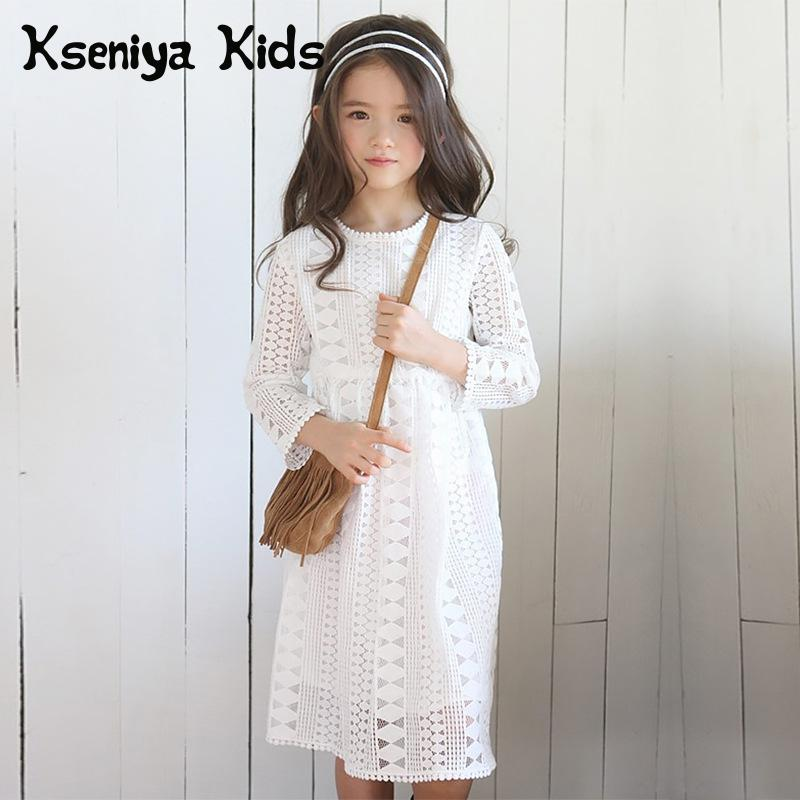 Kseniya Kids 2018 Spring Autumn Girls Dresses Big Girl Long Sleeve Lace Princess Dress Designer Dress Girl Clothing Brand