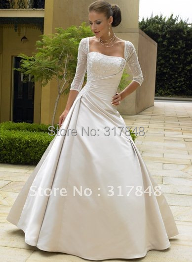 Us 229 0 Latest Unique Designer Square Neckline Three Quarter Sleeve With Sweep Train Satin Bridal Gown Wedding Dresses Wd85 In Wedding Dresses From