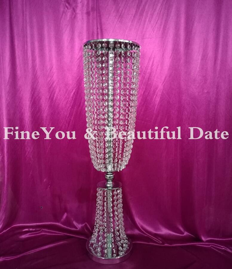 80 см/31,4 ''высокий акрил, стразы, Свадьба дорога свинца в золоте/серебро ваза с цветами для середины стола в качестве украшения на свадьбу вечерние украшения для стола 5 шт./партия - 4