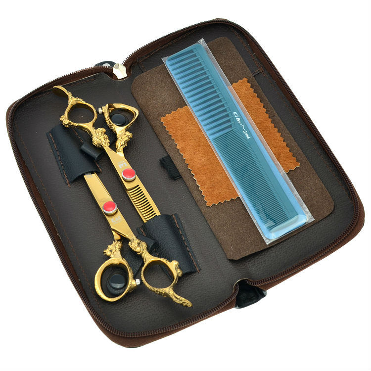 6.0 Professional Golden Hair Scissors Set Dragon Handle Salon Cutting & Thinning Hair Shears Hair Tools, LZS0400 комплект для татуировки oem 1 gig set golden dragon