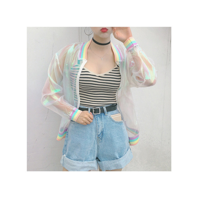Aliexpress.com : Buy Harajuku Summer Women Jacket Laser Rainbow ...