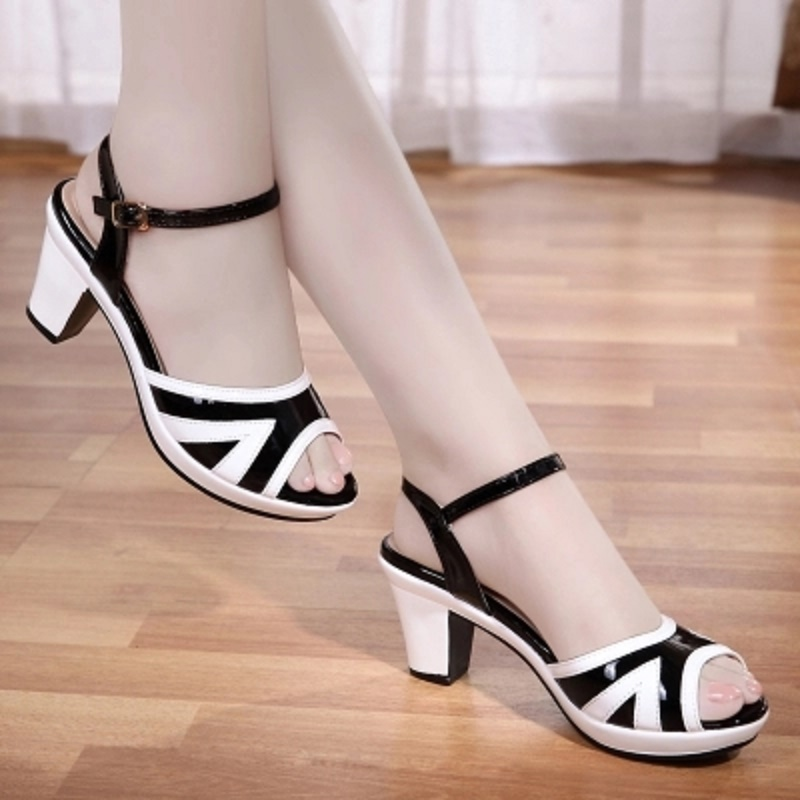Fashion fish mouth sandals with 2018 new summer Korean casual shoes high heel shoes female in the summer of 2016 the new wedge heels with fish in square mouth denim fashion sexy female cool shoes nightclubs