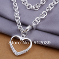 Wholesale New Fashion Silver Plated Necklace Lovely Heart Shape With Zircon in the Leisure time  FREYA/N271