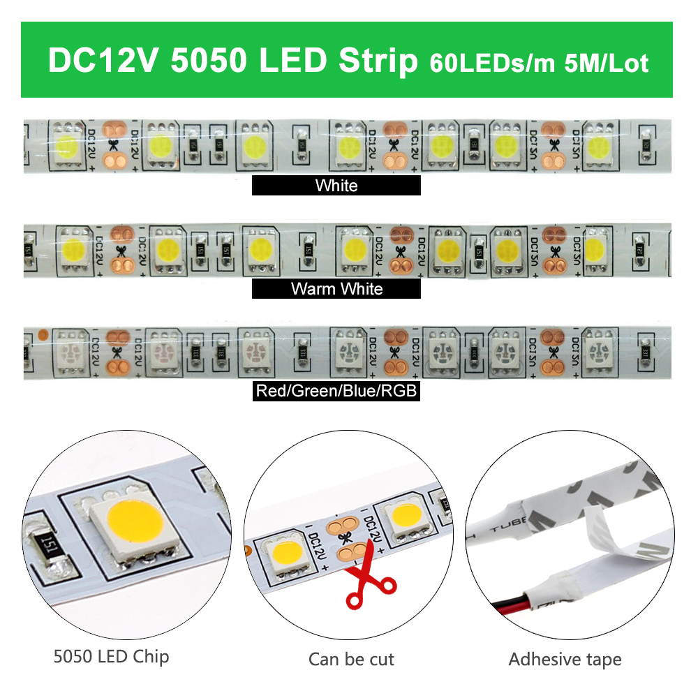 LED Strip 5050 2835 DC12V Flexible LED Light Waterproof No Waterproof 60 LEDs m 5M 300 LEDs White Warm White RGB LED Strip Light in LED Strips from Lights Lighting