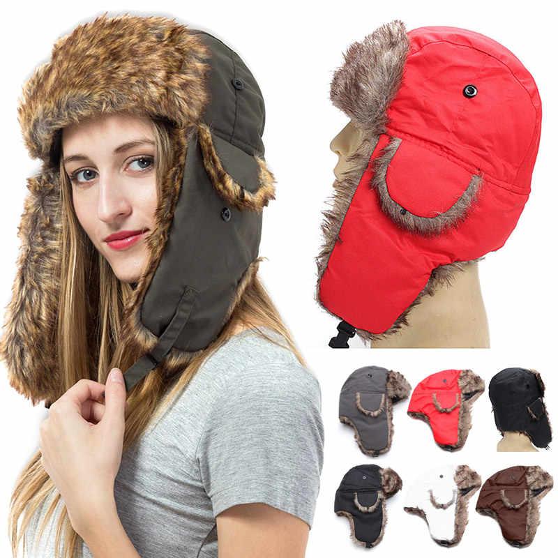 6766b9ca976 Detail Feedback Questions about Men Women Winter Hat Trapper Trooper  Earflap Warm Russian Ski Hat Fur Ushanka Hat Best Sale WT on Aliexpress.com